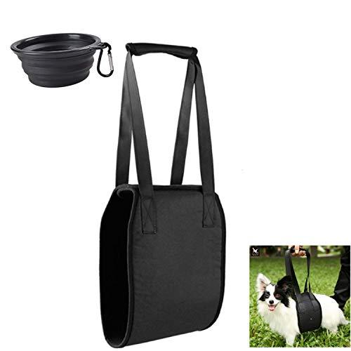 Soporte de elevación para perros, ayuda canina auxiliar de rehabilitación arnés cinturón de asistencia con asa para ancianos y mascotas enfermas + 1 cuenco plegable para mascotas (negro)