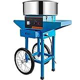 VEVOR Máquina de Algodón de Azúcar 220V Azul Algodonera de Azúcar Cotton Candy Machine Máquina Profesional para Hacer Nubes de Azúcar con Carrito