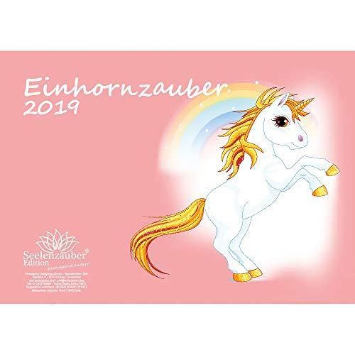 Einhornmagie · DIN A4 · Premium kalender 2019 · Eenhoorn · Fantasie · Paarden · Paarden · Veulen · Hengst · Stute · Cadeauset met 1 wenskaart en 1 kerstkaart · Edition Zelenzauber