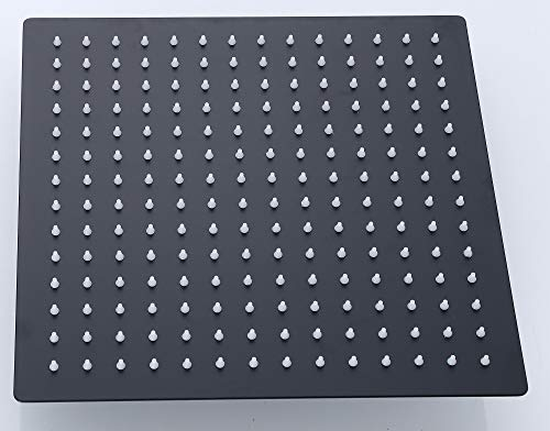 Schwarzer Duschkopf, edles Design, 30 cm quadratisch aus Edelstahl, Kopfbrause, Regenbrause, Regendusche, Regenduschkopf