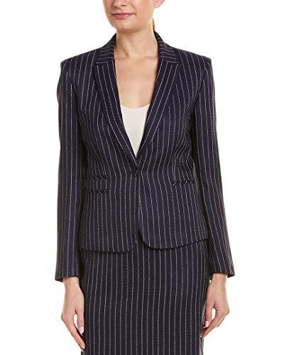 Tahari ASL Women's Double WELT Pocket Jacket Blazer, Navy White Pinstp TWD, 4
