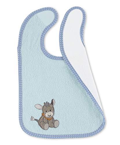 Sterntaler Bavoir en Plastique avec Velcro Âne Emmi, Taille : 38 x 26 x 1 cm, Bleu Clair