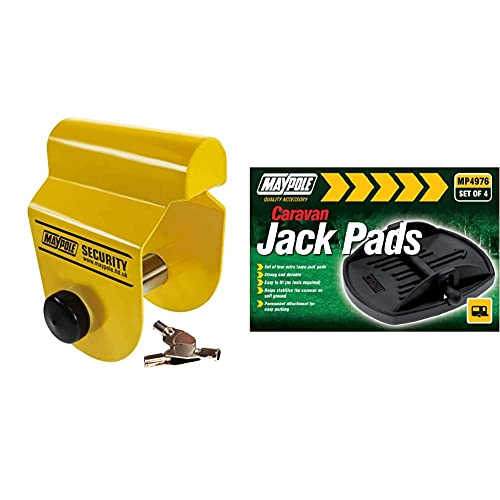 Maypole MP956 Hitchlock for Alko Hitches & MP4976 Caravan Jack Pad (Pack of...