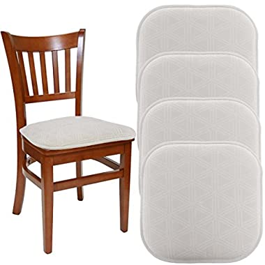"""DreamHome (Set Of 4) Nonslip Chair Pads For Dining Chairs Office Chairs, 16"""" x 16"""" Indoor Memory Foam Gripper Chair Pad Cushion For Kitchen Chairs, Seat Pillow For Rocking Chair"""