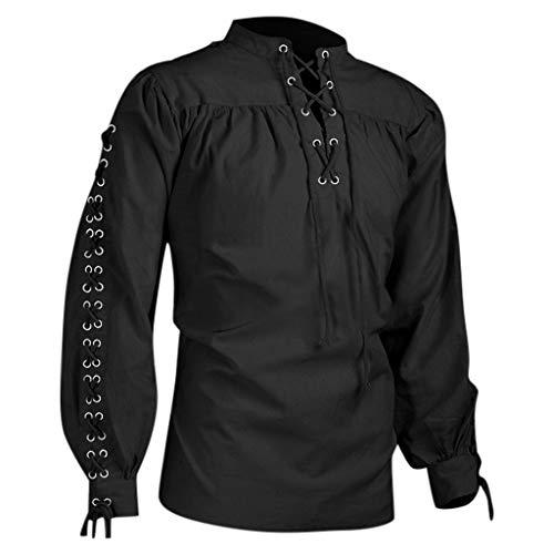 SO-buts Moda Hombre Otoño Invierno Retro Vendaje Camiseta Medieval De Manga Larga Hombre Gótico Blusa Tops Camisa (Negro,L)