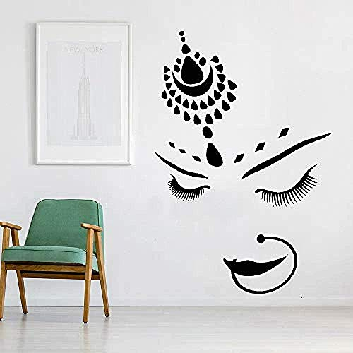 Muursticker,Muurstickers India Hindoes Bruid Meisje Mooi gezicht Piercing Vinyl Muurstickers Woonkamer Schoonheidssalon Muurstickers Woondecoratie 122x84cm