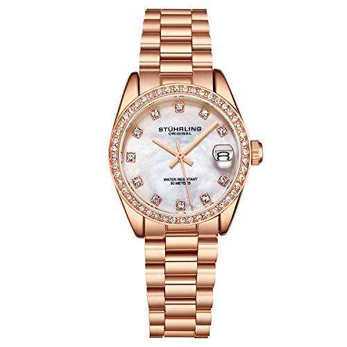 Stuhrling Original Womens Dress Watch - Rose Gold Stainless Steel Link Bracelet Quartz Movement Analog Mother of Pearl Silver Watch Dial with Date - Dress and Casual Design Lineage Watches for Ladies