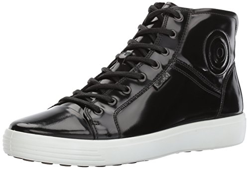ECCO Men's Soft 7 Premium Boot Fashion Sneaker, Black Patent, 42 M EU / 8-8.5 D(M) US