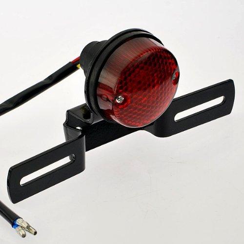 Anzene Universel Noir Anodisé Aluminium Rouge Lentille 10 w Rouge Arrêt de Frein de Queue Intégré Fonctionnant Lampe de Plaque d'Immatriculation Lampe pour Cruiser Bobber Chopper Scooter Moto Hors Route Dirt Bike