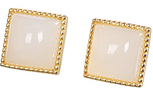 CHXISHOP 925 Pendientes Plateados de Plata de Ley 925 Hetian Jade Pendientes Cuadrados Pendientes Simples de Moda