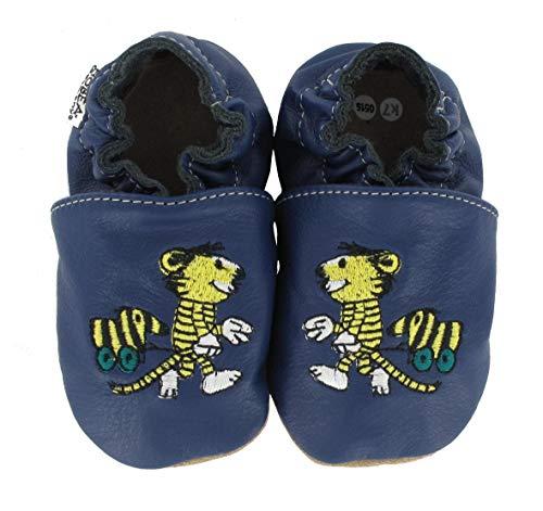 HOBEA-Germany Krabbelschuhe Design: Janosch Tiger mit Tigerente, Größe Schuhe:24/25 (24-30 Mon), Uni Schuhe:blau