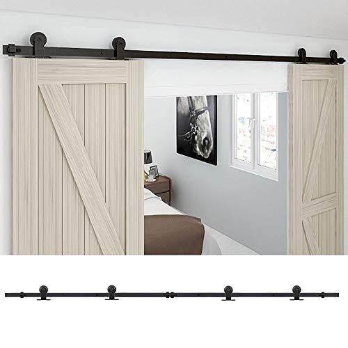 228CM/7.5FT Puerta de granero corredera estilo rústico puerta de granero corredera de madera para armario puerta granero herraje colgadocon guía rodamientos deslizantes, para puerta doble