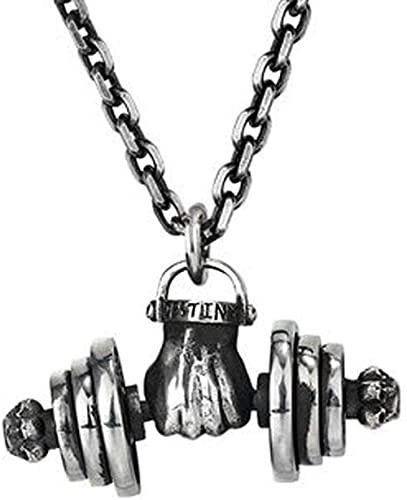 Colgante Collar Hombre Punch Mancuerna Titanio Acero Novio Cumpleaños Confianza y Fuerza Regalo Joyería Cadena-silverchain_L YUAHJIGE