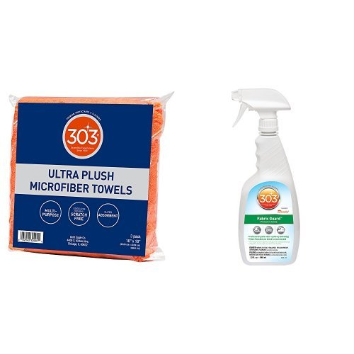 303 Products 16x16 Ultra Plush Microfiber Towel All Purpose Cleaning Kit, Fabric Guard