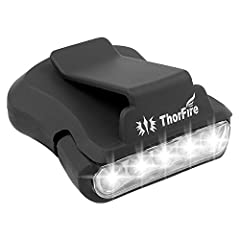 5 bright LEDs, 30 lumens (Max) brightness. Weighs less than an ounce, no burden when clipping onto your hat. Powered by 2*CR2032 button batteries, up to 24 hours working time. 90 degree rotatable head, One-click power button for easy on/off operation...