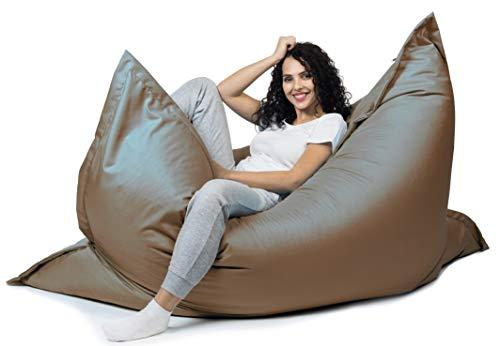 sunnypillow XL Sitzsack, Riesensitzsack Outdoor & Indoor 100 x 150 cm mit 140L Styropor Füllung Sessel für Kinder & Erwachsene Sitzkissen Sofa Beanbag viele Farben und Größen zur Auswahl Braun