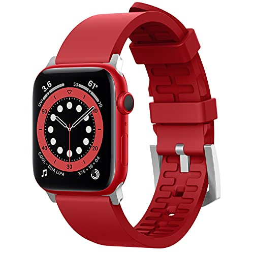 Pulseira esportiva elago compatível com Apple Watch Band 38 mm, 40 mm, 42 mm, 44 mm para iWatch Série 6/SE/5/4/3/2/1 - Material de borracha fluoro premium (vermelho)