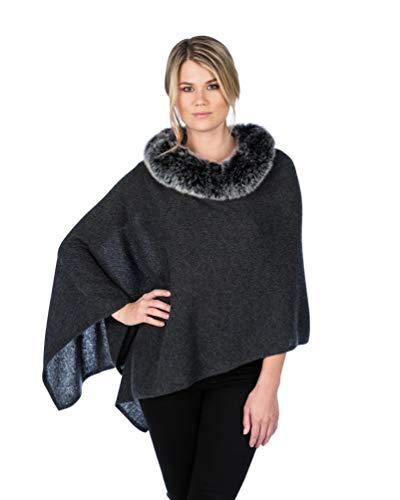 Alashan Luxe 100% Cashmere'Windchill' Fox Trim Dress Topper Poncho (Charcoal with Ebony Fox)