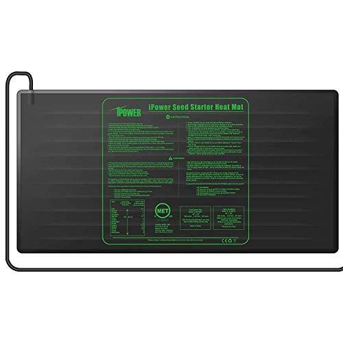 iPower GLHTMTLVGE Durable Waterproof Sämling Heat Mat 122 x 50.8cm Warm Hydroponic Plant Germination Startrampe, Schwarz, L Größe, 122 x 50,8cm