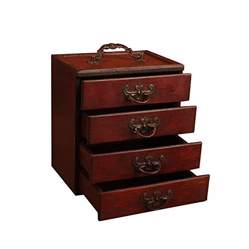 gshhd0 Joyero de madera, funda protectora para joyas, armario de joyas de madera y 4 cajones extensibles, vintage, joyero para pendientes, anillos, pulseras, color rojo y marrón, tamaño libre