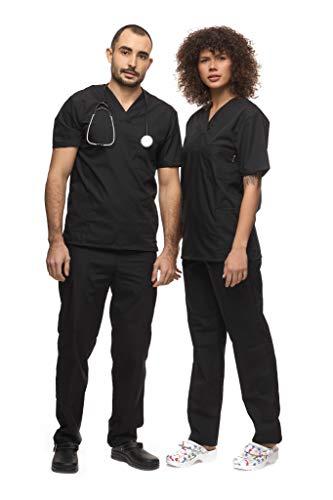 Mazalat , Uniforme médico unisex con casaca y pantalón, kit de limpieza médica para cuidado de la ropa de trabajo Negro L