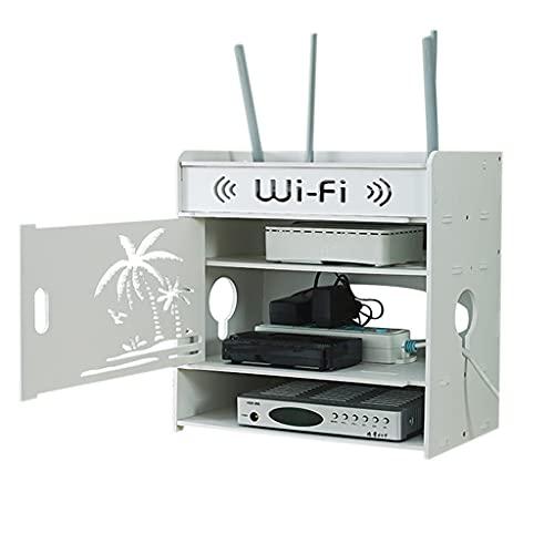 Enrutador Inalámbrico Caja De Almacenamiento WiFi Caja De Decoración De La Pared De La Sala De Estar Tablero Enchufable Cargador Almacenamiento (Color : Blanco, Size : 26 * 18 * 32cm)