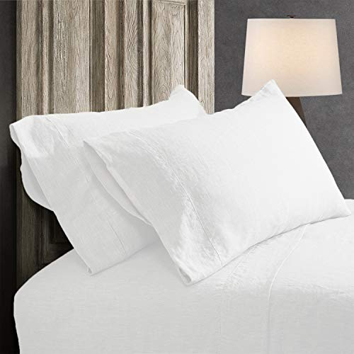 King Linens 100% French Linen Pillowcases with Handmade Hemstitch Lace - Pack of 2 - Stone Washed Solid Color Natural Flax Soft Breathable - White, 20'' x 30''