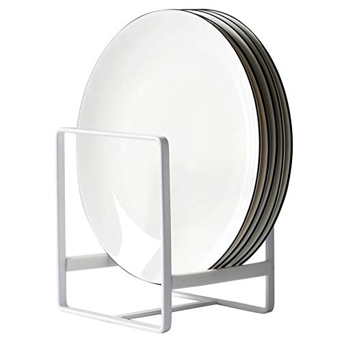 Metal Plate Dish Organizer Holder Rack Stand for Kitchen Cabinet, Counter and Cupboard (Small, White)