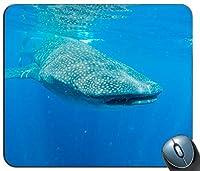 水上で泳ぐシロナガスクジラパーソナライズされた長方形マウスパッド、印刷された滑り止めゴム快適なカスタマイズされたコンピューターマウスパッドマウスマットマウスパッド