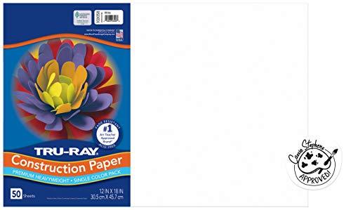 "Tru-Ray Heavyweight Construction Paper, White, 12"" x 18"", 50 Sheets"