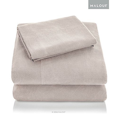 MALOUF Heavyweight Portuguese Flannel Sheet Set-100% Cotton Pill Resistant Bedding-Split King-Oatmeal, Split King