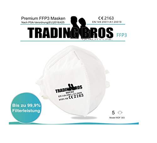 5X Premium FFP3 Maske ohne Ventil Trading Bros Atemschutzmaske Mundschutz