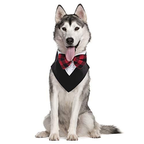 KOESON Formal Hundehalstuch, Hund Smoking Schal mit Fliege Hochzeit Party Outfit Dress-up Zubehör, Haustier Kleidung Kostüm Gentleman Stil Halstuch für kleine, mittelgroße und große Hunde Redplaid L