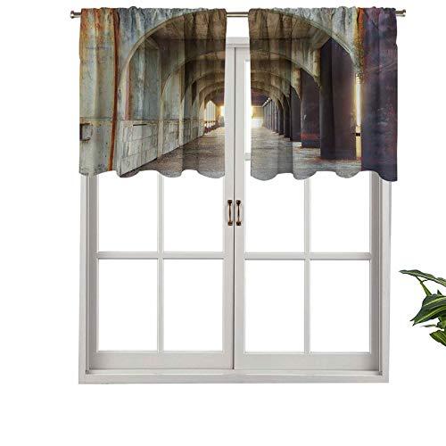 Hiiiman Cortinas cortas rectas para barra de cocina, pasillo de columnas de hormigón, estructura urbana, estilo rústico, industrial, juego de 2, 137 x 91 cm para sala de estar