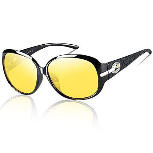 Duco Damen HD nacht brille für autofahrer frauen Elegante Ovale Nachtfahrbrille 6214Y (schwarz)