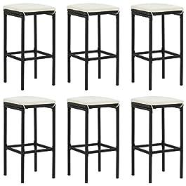 Dioche Lot de 6 chaises de bar au design industriel avec coussin et fermeture éclair dissimulée – 38 x 38 x 76 cm – En…
