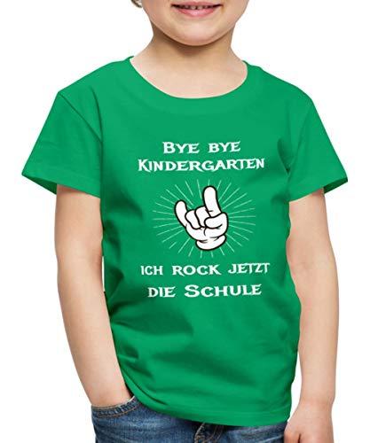 Spreadshirt Bye Bye Kindergarten Ich Rock Die Schule Kinder Premium T-Shirt, 134/140 (8 Jahre), Kelly Green