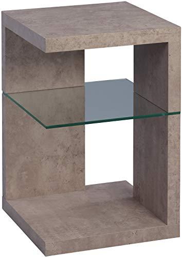 HomeTrends4You 516741 Beistelltisch / Nachttisch Domingo, MDF Dekor Betonoptik, grau, 40x40cm, Höhe 60cm