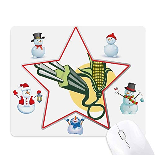 Cable de enchufe de maíz Cable de carga patrón de muñeco de nieve familia estrella Mouse Pad