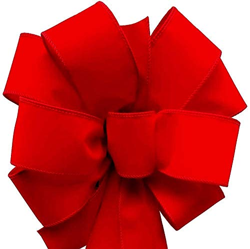 12-Pack Christmas Bows 10'x 26' Handmade with 2.5' Red Velvet Red Wired Edge Ribbon for Indoor Outdoor Decoration Fluffy Not Flat