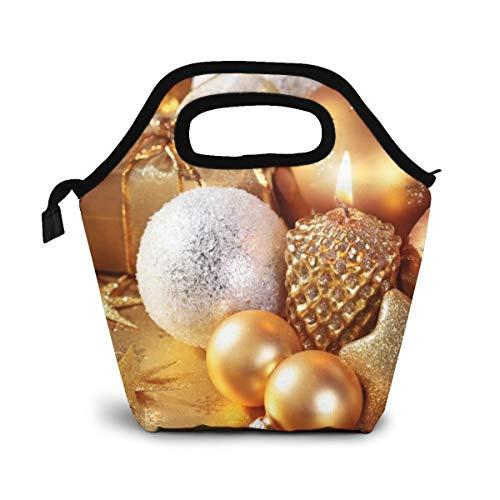NiWCGP Weihnachtsgoldene Kugel Lunch Tasche Isolierte Thermo Kühler Lunch Bag wasserdichte Lunch Handtaschen Tote mit Reißverschluss für Outdoor-Reise Picknick