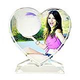 AUEDC Marco de Fotos de Cristal Personalizado en Forma de corazón, Foto grabada con láser 3D para Personalizar su Foto como Regalo Decoración del hogar cumpleaños