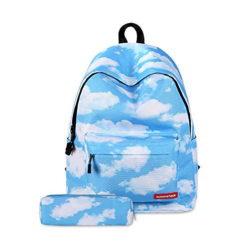 FANDARE Mochila Galaxy Mochilas Tipo Casual Bolsas Escolares con Estuche Niña Niño Bolsa de Viaje Bolsos de Mujer Adolescente School Bag Outdoor Viaje Infantiles Daypack Poliéster Nubes