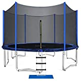 ORCC Trampolines for Kids and Family, 15 14 12 10 FT Round Trampoline with Safety Enclosure Net, Large Backyard Trampoline with Ladder Jumping Mat Outdoor Workout(7FT)