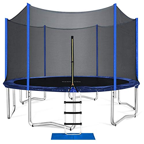 ORCC Trampolines 400 LBS Weight Capacity for Kids and Family, 15 14 12 10 FT Round Trampoline with Safety Enclosure Net, Large Backyard Trampoline with Ladder Jumping Mat Outdoor Workout(10FT)