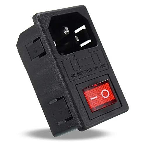 Interruptor Fusible Fuente de alimentación Conector hembra Rocker 250V 10A AC 3 en 1