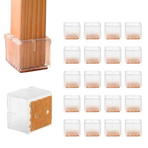 LEADSTAR Silla Pierna Caps, 20Pz Tabla de Muebles Fundas Protectores para sillas, Muebles-Punta Silla Antirayaduras- Almohadilla de Patas de Sillas para 30-35 mm - Transparent