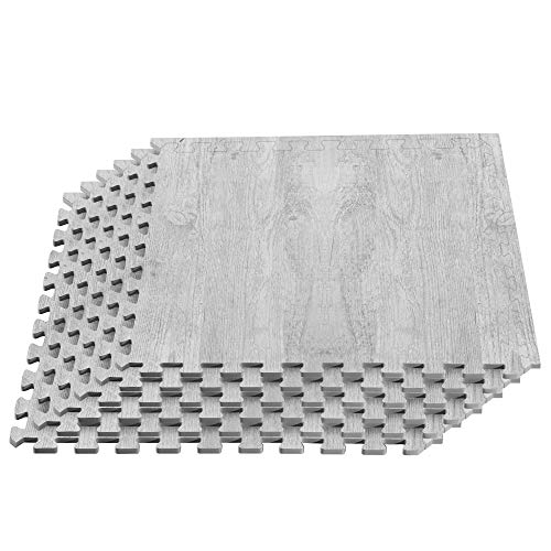 We Sell Mats Forest Floor Farmhouse Collection 3/8 Inch Thick Printed Wood Grain Mats, 24 in x 24 in, Porch Post White