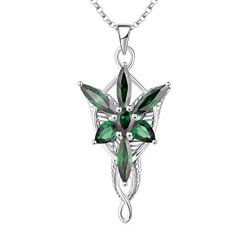 JO WISDOM Damen Halskette Arwen Evenstar Abendstern Sterling Silber 925,Kette Anhänger mit 5A Zirkonia Mai Geburtsstein Smaragd Farbe, Elfen Schmuck
