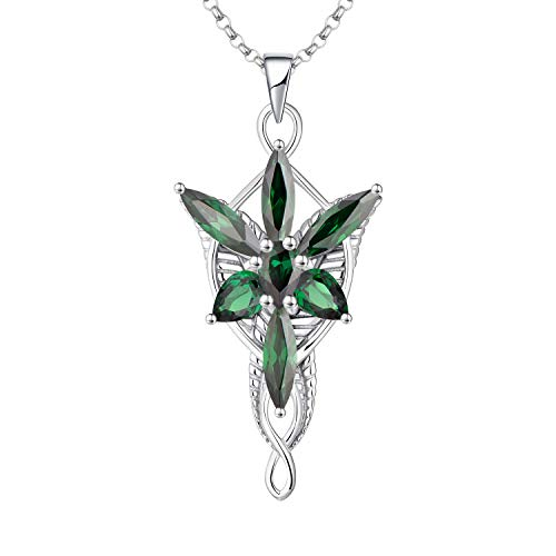 JO WISDOM Arwen Evenstar Necklace,925 Sterling Silver Pendant Necklace with 5A Cubic Zirconia,Elvish Jewelry for Women,May Birthstone Emerald Color